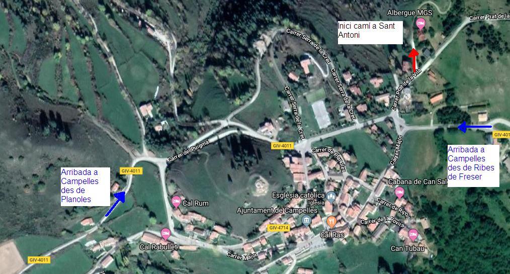 mapa indicatiu del punt de sortida de l'excursio a sant antoni