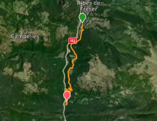 Mapa de la ruta Ribes de Freser fins al Balneari de Montagut