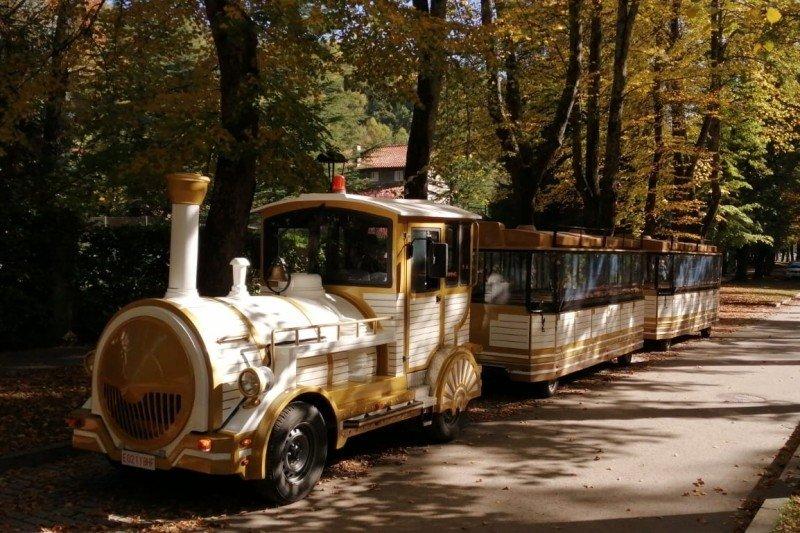 Imatge del Trenet Turístic de la Vall de Camprodon al passeig Maristany de Camprodon